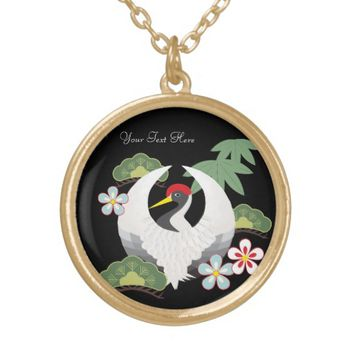 Japanese Lucky Symbols Cool Elegant Black Round Pendant Necklace