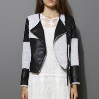 Faux Leather Biker Jacket with Contrast Panel
