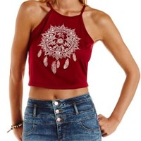 Burgundy Thunderbird Dreamcatcher Graphic Crop Top by Charlotte Russe