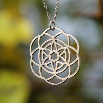 10PCS Flower of Life Necklace Silver Boho Kabbalah Mandala Pendant Necklace Geometry Jewelry