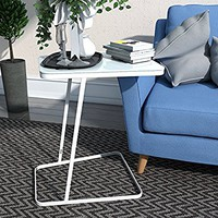Lifewit End Table Side Snack Coffee Sofa Table Modern Tempered Glass Steel, White