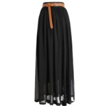 Tobey Vintage Women's Pleated Long Chiffon Waist Maxi Boho Beach Skirt Dress