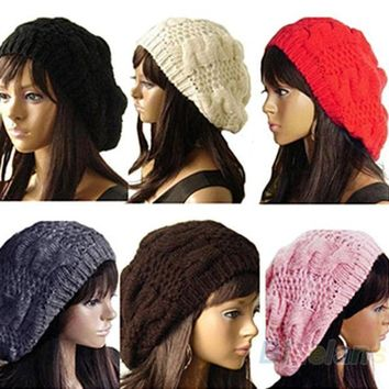 CREYL 2013 New Fashion Women's Lady Beret Braided Baggy Beanie Crochet Warm Winter Hat Ski Cap Wool Knitted Free Shipping 00LO