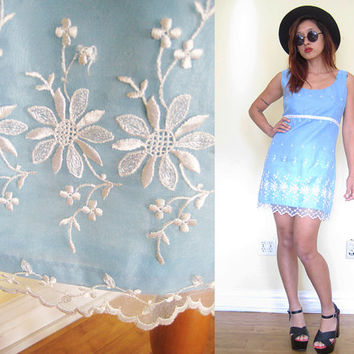 Vintage 60's lace eyelet babydoll mini lolita wedding cocktail party dress light blue mod floral flower