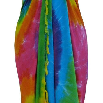 Tie Dye Women's Beach Sarong Wrap Swim Cover Up (Small)