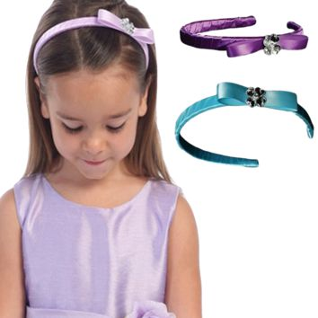 Crystal Flower Centered Bow on a Satin Headband in 18 Color Choices (Girls)