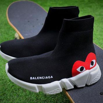 Balenciaga Trending Women Men Speed Stretch Knit Mid Black Sneakers Socks Shoes I