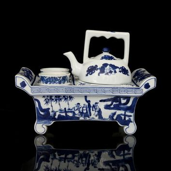 #02 Rare QingDynasty Porcelain Tea Set White and Blue Hand Painted