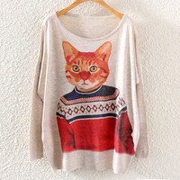 Cute Women's Cat Printed Knit Pullover Sweater