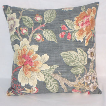 "Grey and Orange Floral Throw Pillow  Kaufmann Room with a View Coral Pink Purple 17"" Cotton Square Ready Ship Cover and Insert"