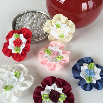 "6 pieces 2 1/4"" flowers applique,ribbon flower applique,scrapbooking,embellishment, card making, sewing, hair bows, gift wrapping,headbands."