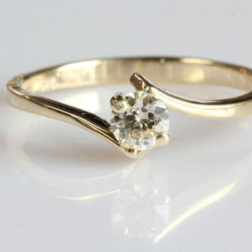 0.40 carat Diamond Engagement Ring, Solitaire 14K Yellow Gold Ring, Women Jewelry, Gift Jewelry, Wedding Jewelry, Size 6