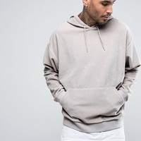 ASOS Oversized Velour Hoodie In Gray at asos.com