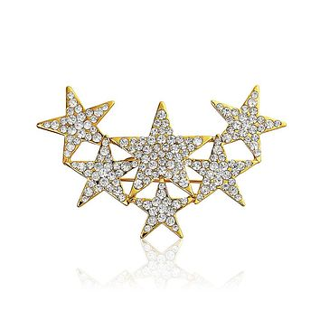 Large Patriotic 6 Crystal Stars Brooch Pin Gold Plated