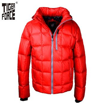TIGER FORCE 2016 Men Fashion Down Jacket 70% White Duck Down Winter Down Coat Parka European Size Red Zipper Free Shipping D554