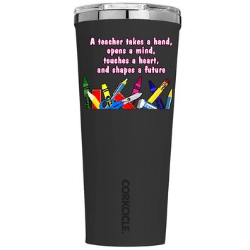 Corkcicle A Teacher Takes a Hand on Black 24 oz Tumbler Cup