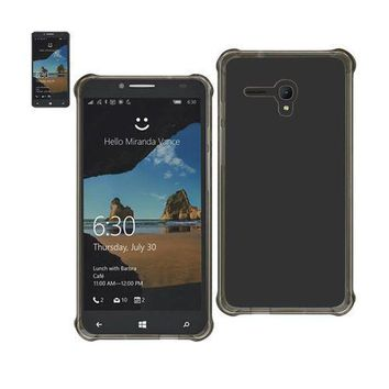 REIKO ALCATEL ONE TOUCH FIERCE XL MIRROR EFFECT CASE WITH AIR CUSHION PROTECTION IN CLEAR BLACK