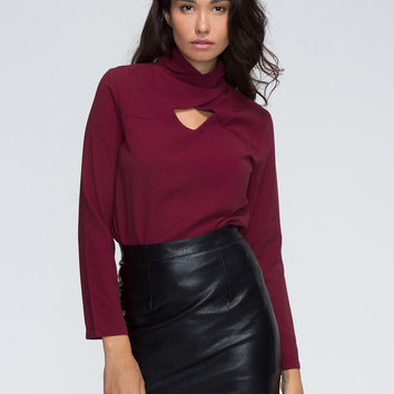 Burgundy Cross High Neck Cut Out Long Sleeve Blouse