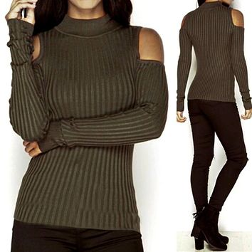 WEIXINBUY Autumn Turtleneck Off Shoulder Knitted Sweater Winter Women Fashion Sexy Pullover Jumpers Tops Oversized Capes V2