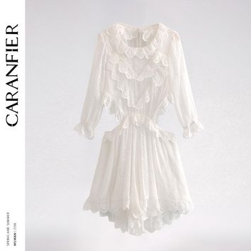 CARANFIER Summer Jumpsuit Women Wave Point Embroidered Halter Lace Strap Lace Lace Siamese Skirt Sexy Back Long Sleeve Bodysuit