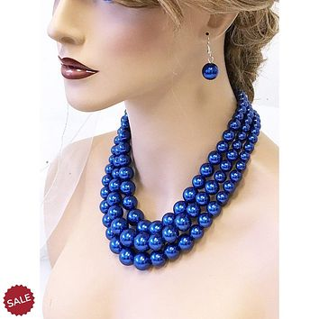 Royal Blue Multi Layer Pearl Bridal Jewelry Set
