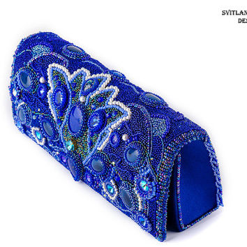 Blue evening embroidered women clutch For her Blue stylish fashion handbag Beaded clutch Exclusive handbag Unique Clutch Embroidered bag