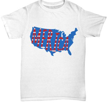 4th of July 'Merica US Map Shirt