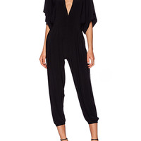 Black Ruffled Short Sleeve Jumpsuit