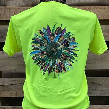 Backwoods South Waters Hooked On Fishing Lures Bright Dri Fit Unisex T Shirt
