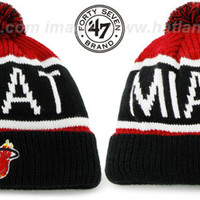 Heat THE-CALGARY Black-Red Knit Beanie Hat by Twins 47 Brand