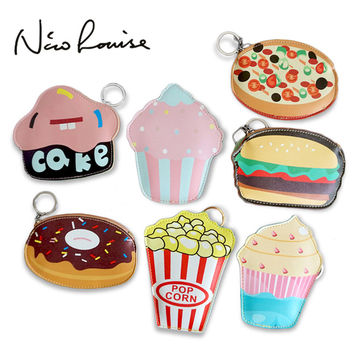 2018 Creative Cute Cartoon Coin Purse Key Chain For Girls Leather Icecream Cake Popcorn Kids Zipper Change Wallet Card Holder