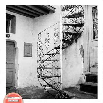 Black and white print, fine art photography print, Greece print, square wall art, black and white wall art, travel print, spiral staircase