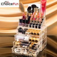 CHOICEFUN 4 Drawers Acrylic Makeup Organizer  Lipstick Nail Polish Clear Plastic Cosmetic Storage Box With Mirror SF-1029M-4