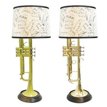INSTRUMENTAL LIGHTING - TRUMPETS | Instrument, Lamp, Upcycling, Upcycle, Recycle, Handmade, New York City, Jaime Cornett, Trumpet, Brass, Gift for the Musician | UncommonGoods