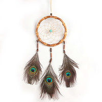 """Antique Handmade Dream Catcher Peacock Feather Wall Hanging Decoration Wind Chimes Ornament-25"""" Long"""