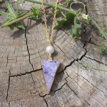 Indigo Purple Druzy Crystal Triangle Charm Necklace // Geometric Bohemian Minimal Necklace // Tribal Gypsy Jewelry - Boho Necklace