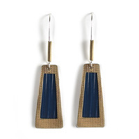 Jody Coyote Earrings from the Frosted Collection - Denim Trapezoid and Gold Window