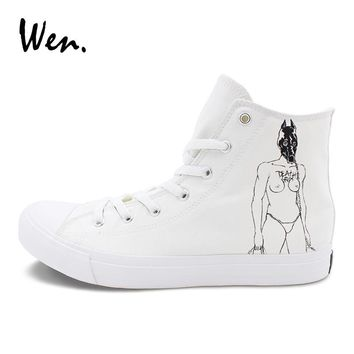 Wen High Top Canvas Sneakers Design Death Grips Hand Painted Sports Shoes Mens Womens Skateboarding Shoes Lace Up Flat