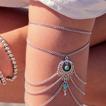 Silver Turquoise Bead Draped Arm Chain