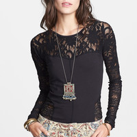 Cross Back Lace And Mesh Long-Sleeve Top