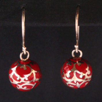Stunning Red Harmony Ball Earrings with intricate Sterling Silver filigree - real eye catchers! Matching Harmony Ball pendant is available !