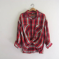 Vintage red plaid boyfriend flannel / Grunge Shirt / oversized and baggy