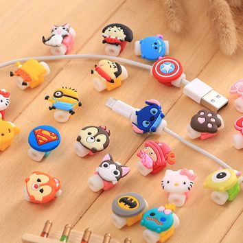 6pcs/lot Lovely Cartoon Charger Cable Winder Protective Case Saver Data line Protector Earphone Cord Protection Sleeve Wire