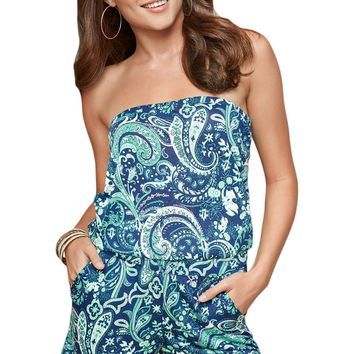 Summer Sky Blue Strapless Floral Print Romper Overall