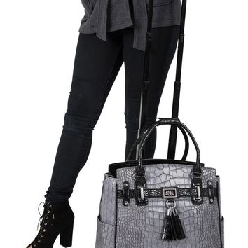"""THE GREYSTONE"" Alligator Rolling iPad, Tablet or Laptop Tote Carryall Bag"