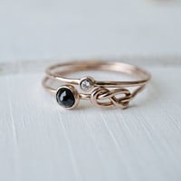 Spinel Infinity Knot Ring Set in 14k Gold