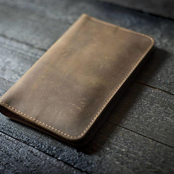 Personalized Leather Passport Wallet, Distressed Leather Travel Wallet, Passport Holder, Leather Passport Cover Sand Brown #2 FREE Shipping