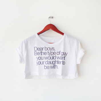 White Message to Dear Boys screen printed Midriff Cropped Blouse (S -l M) Street-Style Fashion - teenage