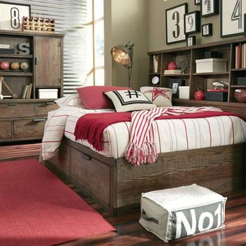 5900 Fulton - Complete Lounge Bed with Bookcase Headboard and Storage Footboard - Twin
