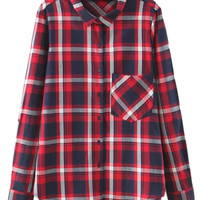 Red Plaid Dip Hem Boyfriend Shirt
